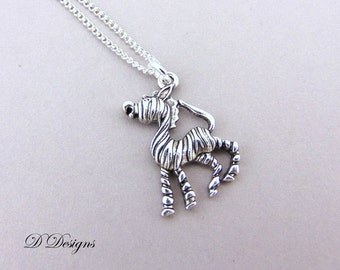 Zebra Necklace, Silver charm Necklace, Zebra Charm Necklace, Zebra Pendant, Childrens Necklace, Trendy Necklace, Silver Necklace