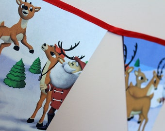 2.6m Rudolph The Red Nosed Reindeer Golden Book Bunting