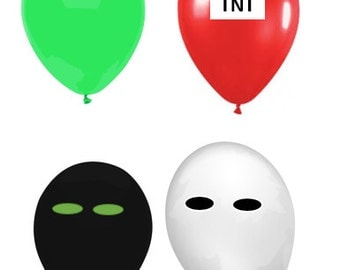 Mixed Lot Party Pixel Balloons Latex Green Black White Red Video Game Decorations