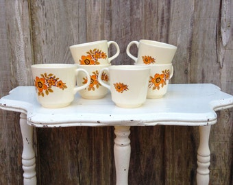 60s' Vintage Floral Coffee or Tea Cups, Great Condition!, Set of 6, Made in Romania