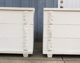 Mid Century Carved Bachelors Chests Pair