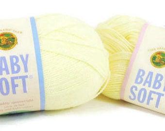 Yarn Lot Destash Lion Brand Baby Soft Pastel Yellow 157, Acrylic Nylon Blend, 1 Full Skein + 1 Partial Skein, Great Value