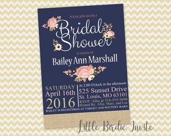 Navy and Pink Bridal Shower Invitation   Floral Bridal Shower Invitation   Printable Bridal Shower Invitation   Recipe Card   Wedding Shower