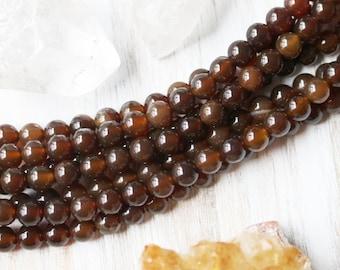 6mm Dark Brown Agate, 6mm Gemstone Beads, 6mm Brown Beads, Brown Agate, Agate Beads, 6mm Round Beads, Jewelry Beads, Bracelet Beads,