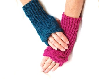 Knit texting mitts, Pink teal fingerless gloves, mismatched wrist warmers, device gloves, arm warmers, hand knit item, gift for her