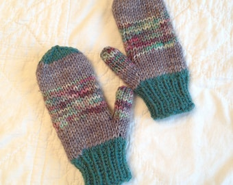 Children's double knit mittens, hand knit wool mitts, wool kids knit gloves, thick mittens, teal gray mittens, warm knit mitten, double knit