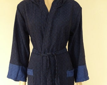 Turkish saxe  blue and black colour soft cotton hooded bathrobe for men or women.