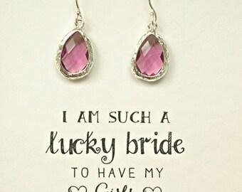 Bridesmaid Purple Amethyst Earrings, Purple Earrings for Bridesmaids, Gifts for Bridesmaids, Bridesmaid gift, ES1
