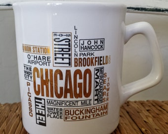 Vintage Chicago Illinois City Coffee Mug The Windy City Lincoln Park Magnificent Mile Theel Ohare & More Places Ceramic Cup