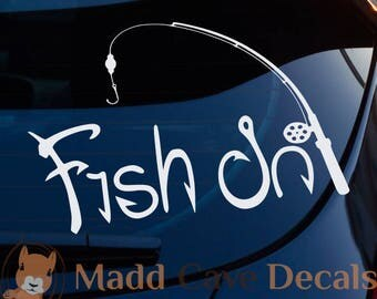 Fish On Hook Decal for tumblers, laptops, windows
