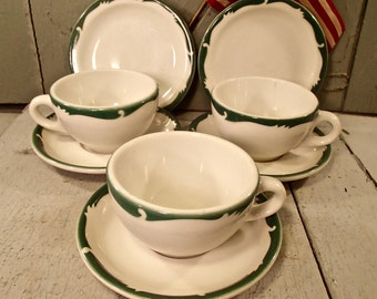 """Syracuse Coffee Mugs and Saucers, Wintergreen Pattern, Restaurant Dishes 1950""""s, Railroad Dishes"""