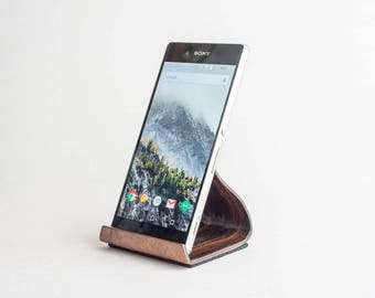 Bent Wood Phone and Tablet Stand - Walnut and Ebony - Handmade in California