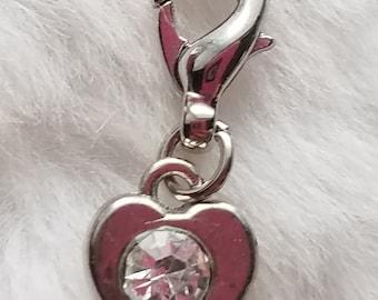 Tiny Rhinestone Heart charm