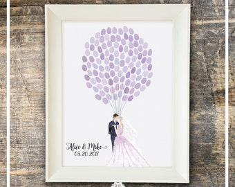 Wedding Guest Book Watercolor Fingerprint Guest Book - Romantic Couple With Balloons - Guest Book And Ink Pad Fingerprint Wedding Book