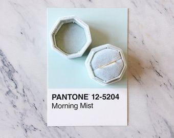 Velvet Ring Box Morning Mist Light Green Octagon Handmade Wedding Vintage  Engagement Gift Bride