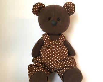 Brown Teddy Bear, Handmade Teddy Bear, Handmade Bear, Fleece Teddy Bear, Sewn Teddy, Stuffed Teddy Bear, Plush Teddy bear