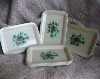 Vintage Small Tray Set, Eight Metal Trays with Pine Needles and Pine Cones