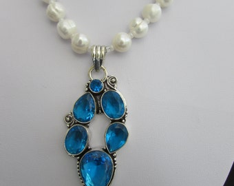 Stunning Swiss Blue Topaz Pendant on Akoya Pearl Necklace