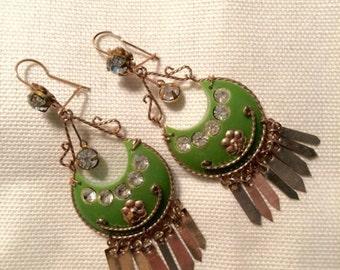 Vintage 1960s Chandelier Earrings Egyptian Elegant Style