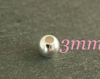 10x 3mm-Pearl silver bead 925/-Sterling #3626
