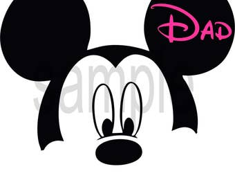 Easy Iron On Transfer Paper Mickey Mouse Hot Pink Dad T Shirt Transfer Pick Any Saying Three Sizes to Pick
