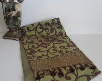 Elegant Designer Table Runner In A Green And Brown Abstract Floral With Animal  Print   Size