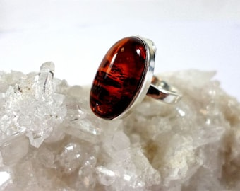 Dark Flame Baltic Amber Sterling Silver Ring
