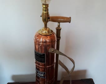 Upcycled lamp. Vintage french copper vineyard sprayer lamp.