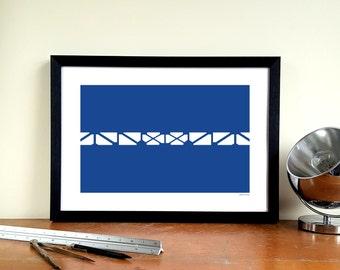 "Everton FC Goodison Park Minimalist Graphic Design Art Print - Bullens Road Stand ""Leitch Balcony"""