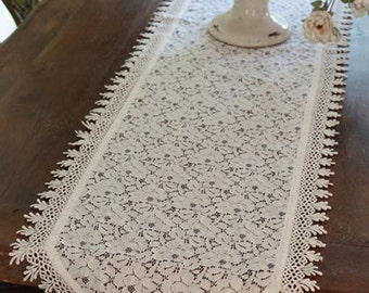 CROCHET LACE TABLE Runner-Venetian lace