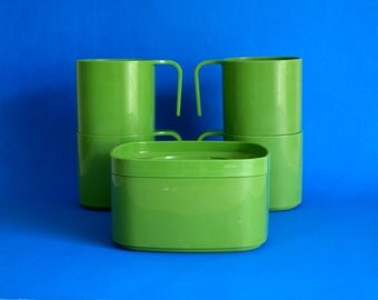 Bessemer Green Picnic Cups Dip Bowl with Lid - 70s Melmac Melamine Drinks Tumblers Plastic Barbecue - Retro Kitchen - Made in Australia