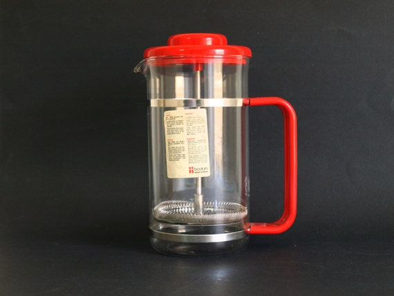 Bodum Bistro French Press Coffee Pot in Red Vintage Danish