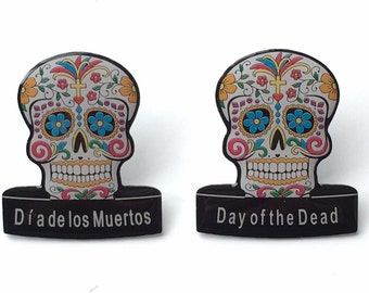 2 x Day of the Dead (Dia de los Muertos) Candy Mask Lapel Pin Badges