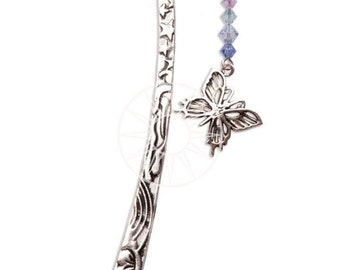 Swarovski Crystal & Pewter Bookmark With Pewter Inspirational Charm BUTTERFLY