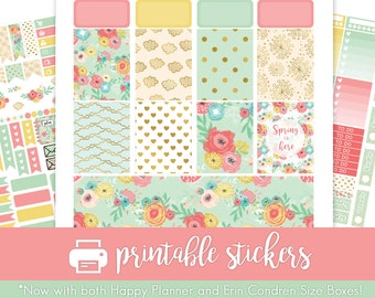 Printable Planner Stickers Spring Flowers Weekly Kit for March / April / May ! w/ Cut Files! For use with Erin Condren/Happy Planner!