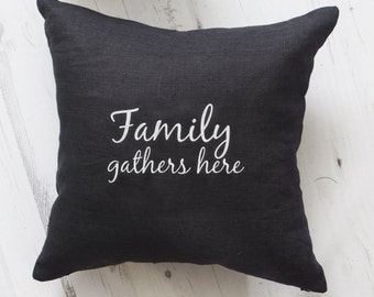 Cushion cover, Housewarming gift, typography, word pillow cover, phrase pillow cover, embroidery pillow cover, Family quote, embroidered