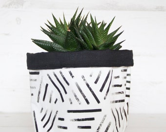 Fabric plant pot cover, succulent planter holder, Minimalist geometric style