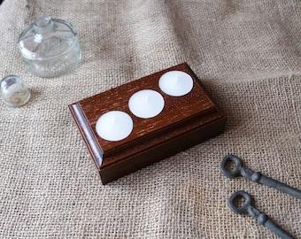 Red Wood Candle Holders - 3 Tea Lights - Minimalist Design Candle Holder