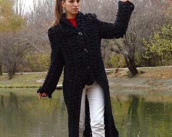 BLACK Vest,Ready, available, Ladies, hand-woven,  shawl collar cardigan coat, long ,knitted ,wool