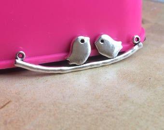 2 Sweet Lovebirds Tibetan Silver fit Pendants bracelet beaded Charms 42x12mm