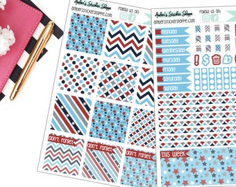 Red White and Blue Memorial Day or Fourth of July Weekly Kit for Mini Happy Planner
