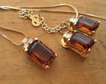 Christian Dior Signed Amber Brown Crystal Rhinestone Earrings Pendant Necklace Set