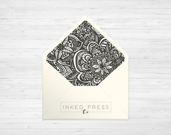 Floral Aztec - Digital ENVELOPE LINERS - DIY Printable Wedding Invitations   Made to fit A1, A2, A6 & 5.75 Square