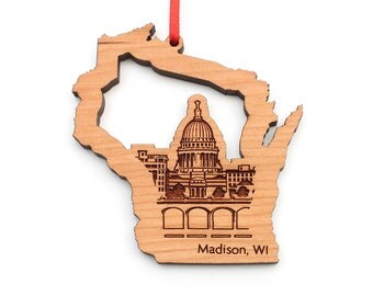 Madison Wisconsin State Shape Christmas Ornament with Capitol Building and Monona Terrace City Skyline
