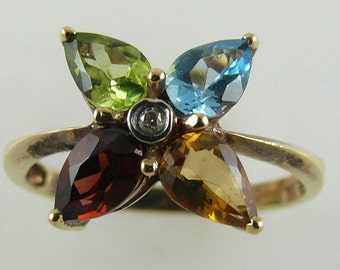Multi Color Gemstone Ring 14K Yellow Gold with Diamond 0.01ct