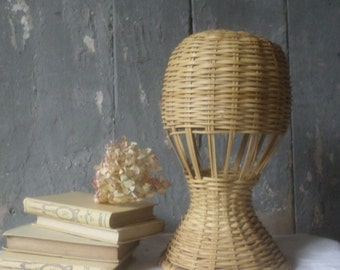 wicker hats stand French vintage woven hats hook boho deco french boudoir cottage deco modern shabby chic cottage