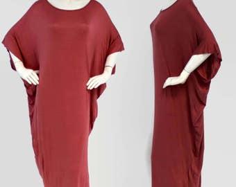 Elegant Long Maxi Dress, Batwing Dress, Free Fitting Dress, V-Cut Back, Red, One Size (Fits S-XL)