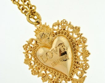 Vintage Gold Moschino Heart Charm (Chain Not Included)