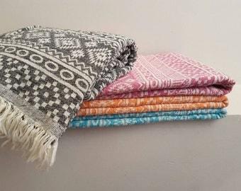 Boho Beach Towel - Ultra Soft Woven Cotton throw in Aztec - Fashion Bohemian Home - Festival Blanket - Luxurious Bath Towels - Coach wrap