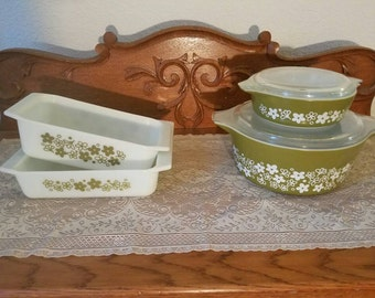 Spring blossom/ crazy daisy pyrex loaf pan and 8 x 8 brownie pan milk glass baking pans 475B casserole and 471